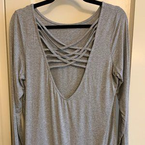 Forever 21 Crossback Top, Gray, Size M